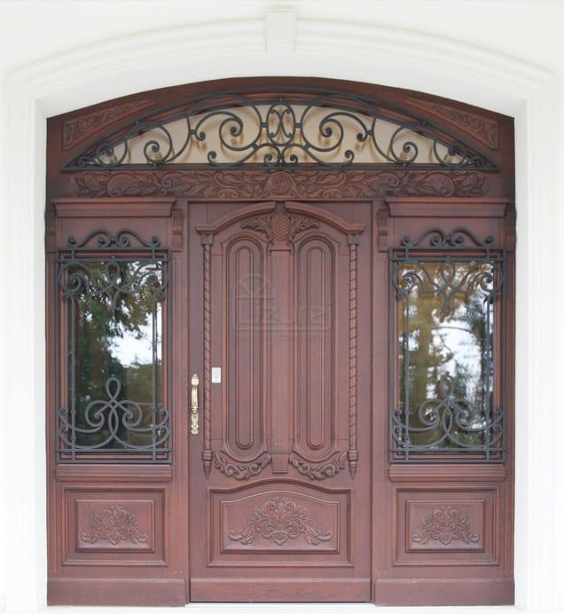 Drzwi zewnętrzne stylowe ekskluzywne z rzeźbą dwuskrzydłowe LZ 528