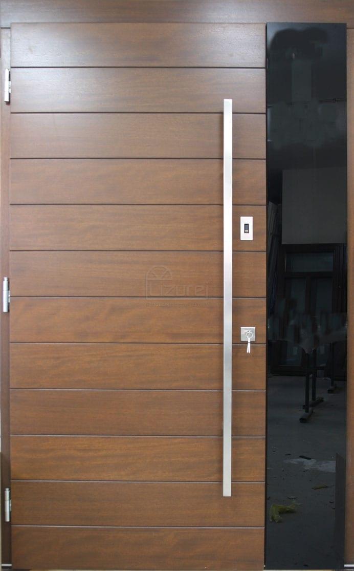 Drzwi zewnętrzne drewniane nowoczesne z naświetlem czarne szkło  dostawka LZ581