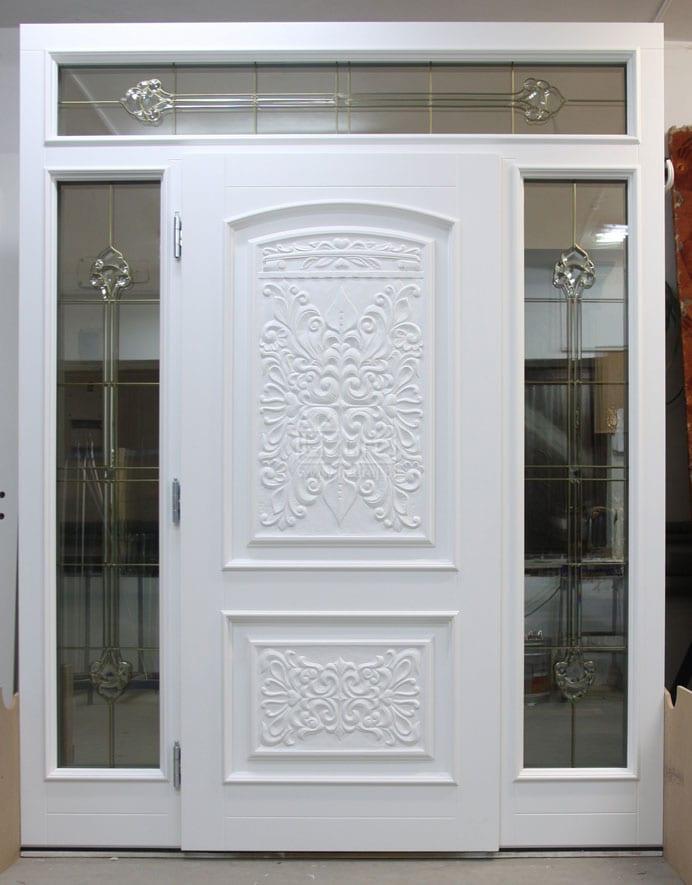 Drzwi zewnętrzne drewniane pasywne z rzeźbieniem artystycznym Lz 587