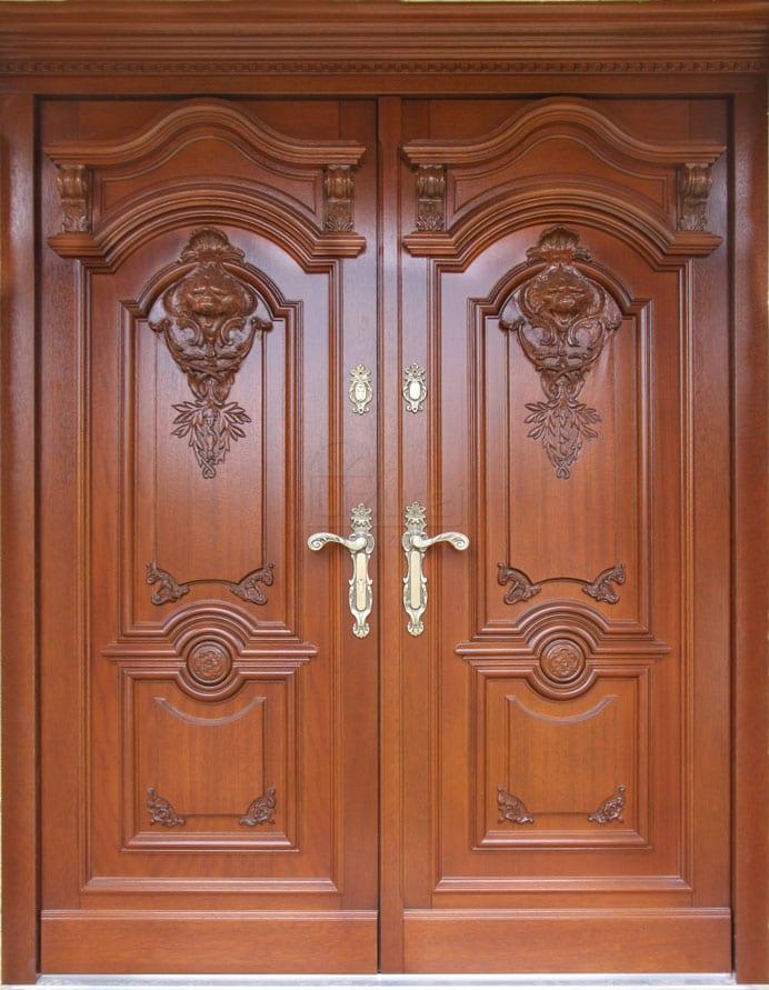 Drzwi zewnętrzne stylowe ekskluzywne z rzeźbą dwuskrzydłowe LZ 539