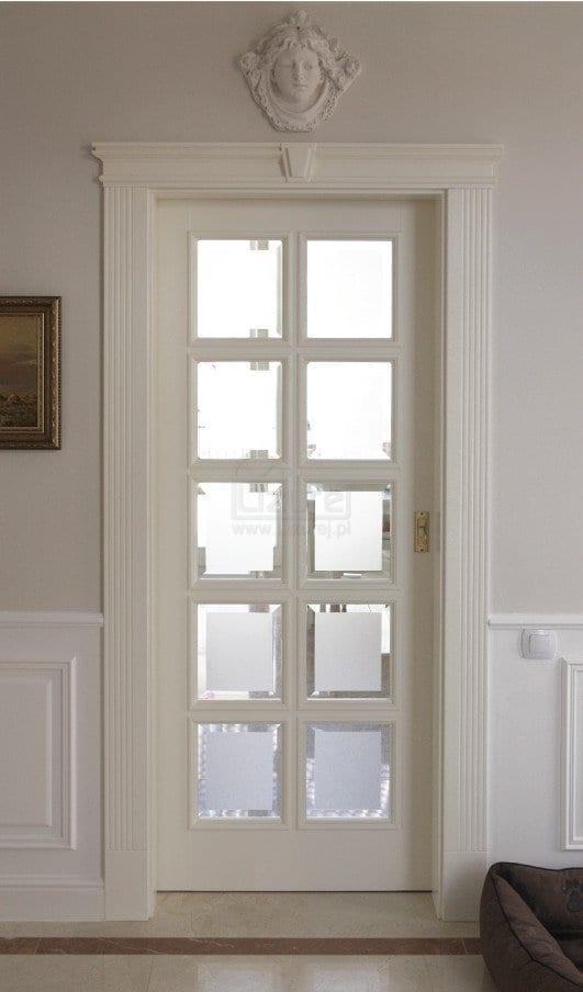 Drzwi wewnętrzne drewniane przesuwne szkło kryształ LW165