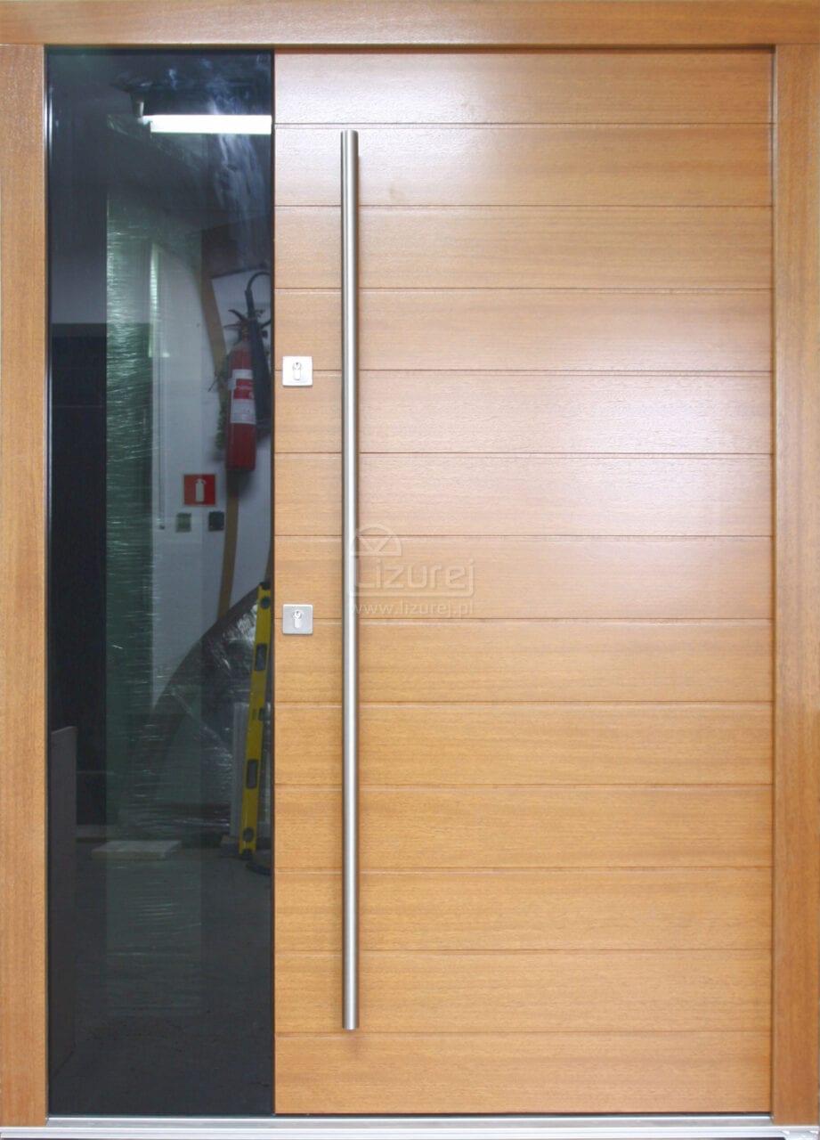 Drzwi zewnętrzne nowoczesne czarne szkło wichester LZ570