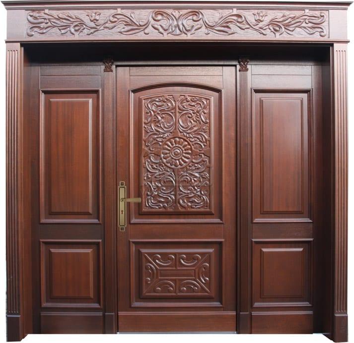 Drzwi zewnętrzne dwuskrzydłowe rzeźbione stylowe LZ 279