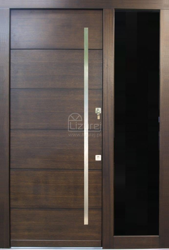 Drzwi zewnętrzne z dostawką czarne szkło LZ 483
