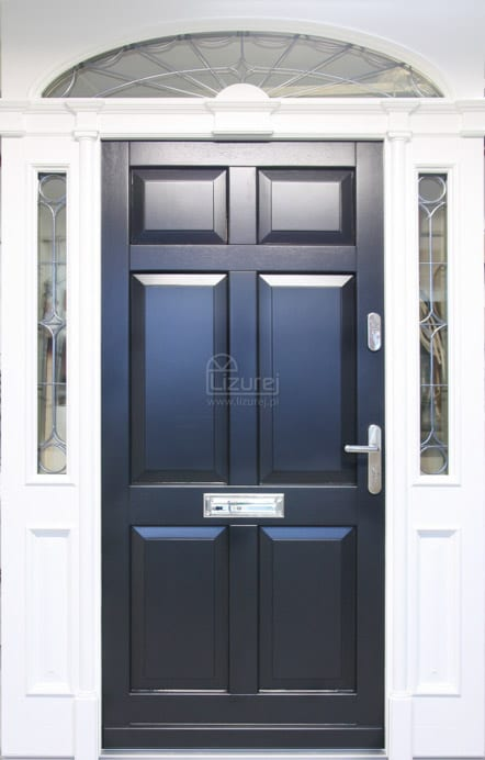 Drzwi zewnętrzne białe / czarne z lukiem lub bez LZ568