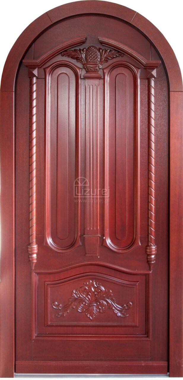 Drzwi zewnętrzne rzeźbione snycerka stylowe z łukiem  LZ 571 w łuku