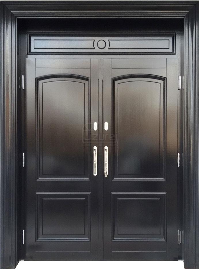 Drzwi zewnętrzne dwuskrzydłowe czarny połysk LZ498