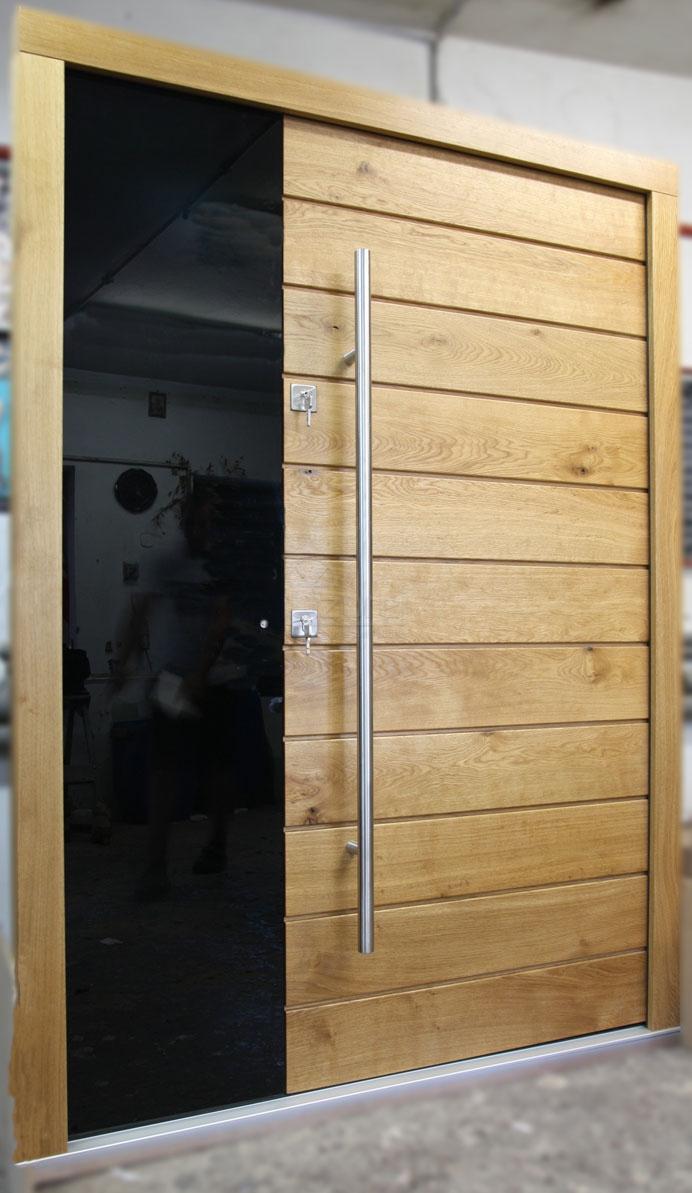 drzwi_zewnętrzne_-drewniane_nowoczesne_dąb_rustik_czarne_szkło_LZ333-2-
