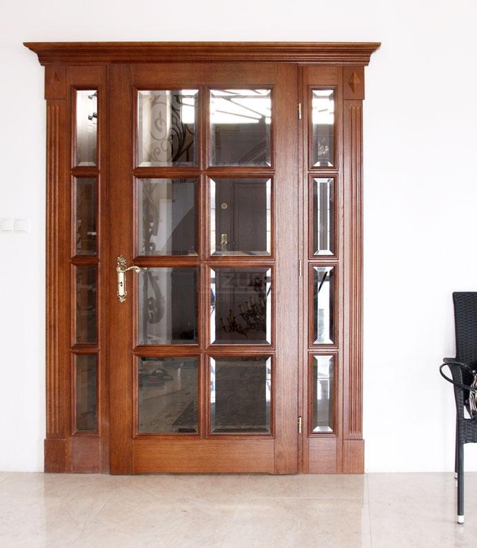 Drzwi wewnętrzne drewniane z dostawką szklane, naświetla szkło kryształowe  LW525