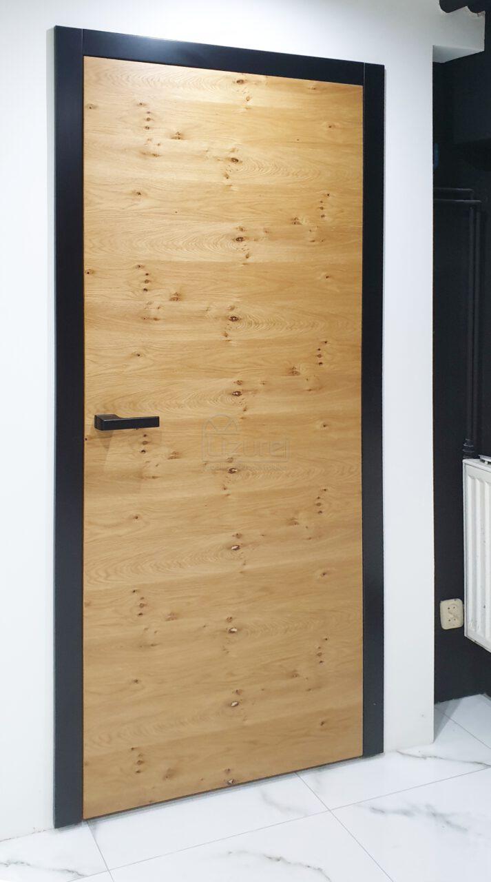 Drzwi wewnętrzne nowoczesne drewniane / mdf czarne dąb rustykalny sęki LW 500