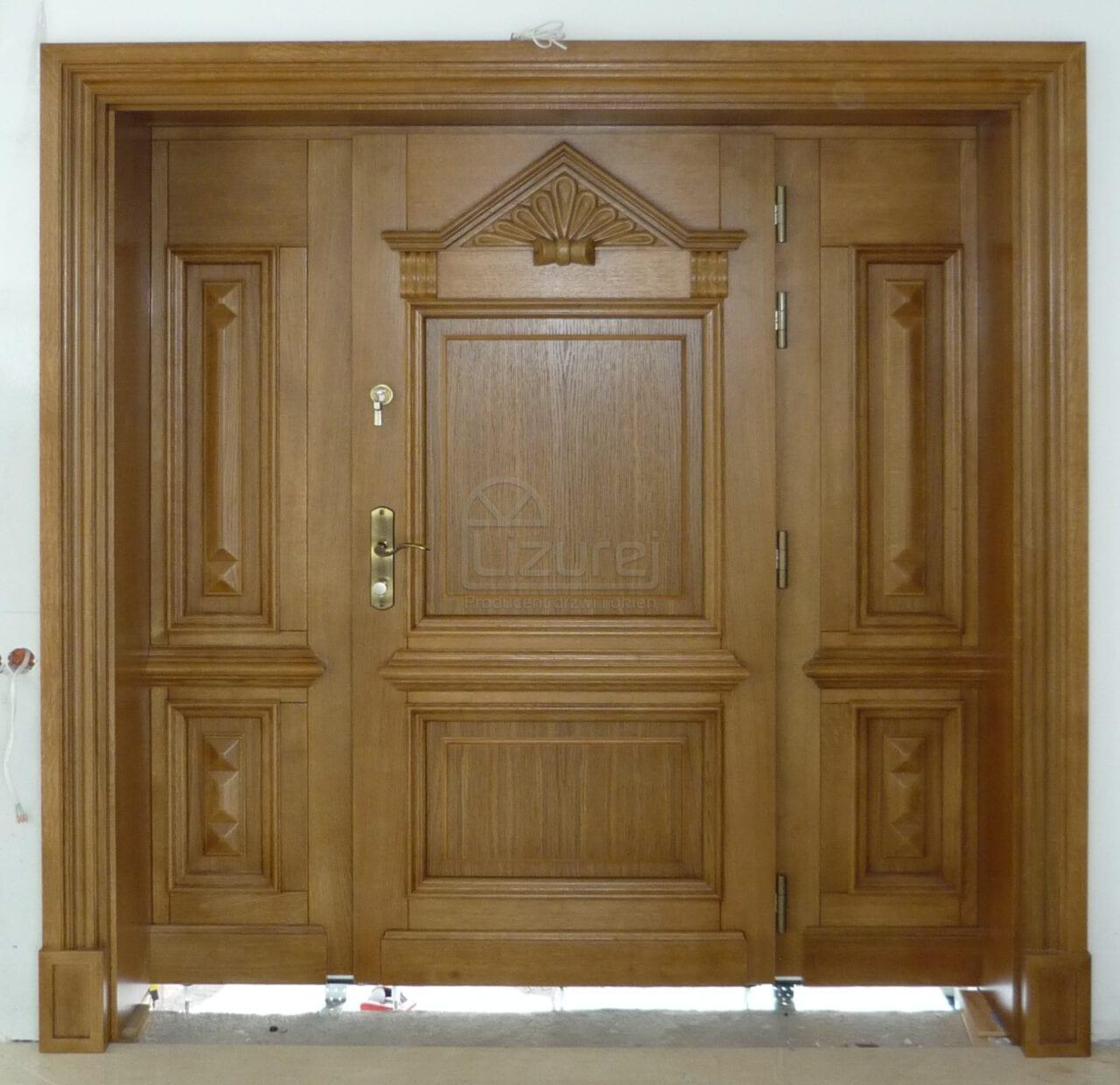 Drzwi zewnętrze drewniane dębowe rzeźbione ręcznie złoty dąb winchester LZ386