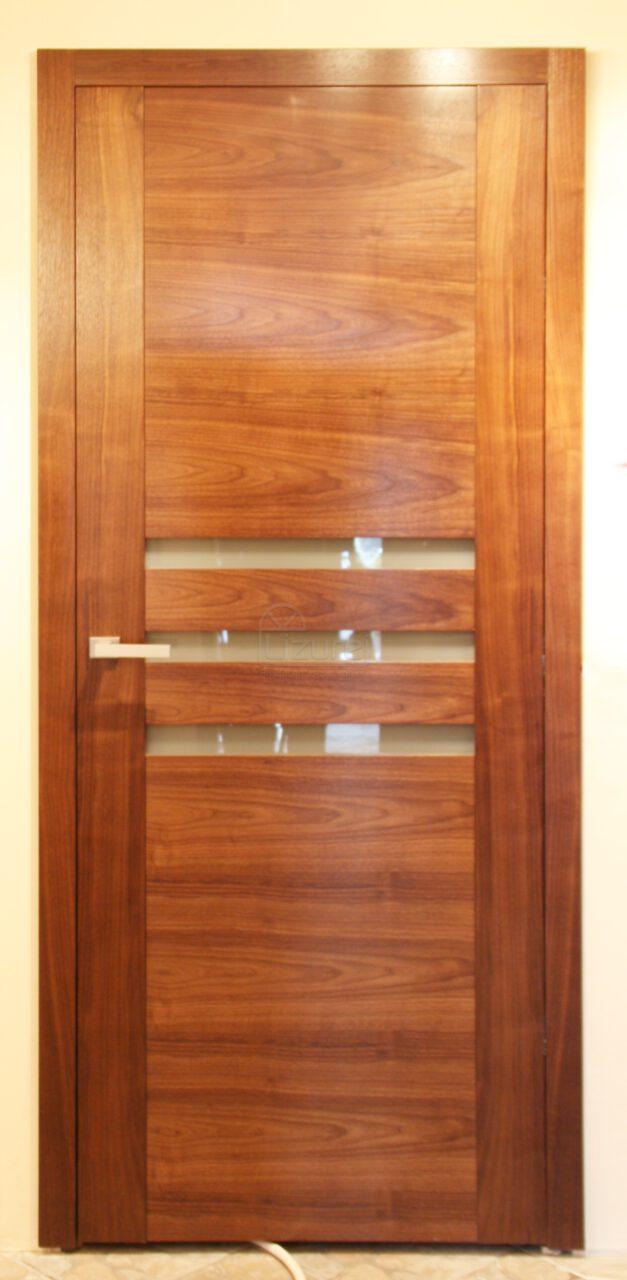 Drzwi drewniane orzech amerykański z okładziną nowoczesną ścian drewnem LW305