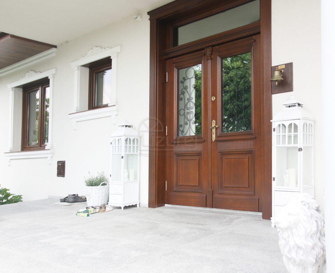 Drzwi Zewnętrzne Dwuskrzydłowe Drewniane Przszklone Dwór LZ270