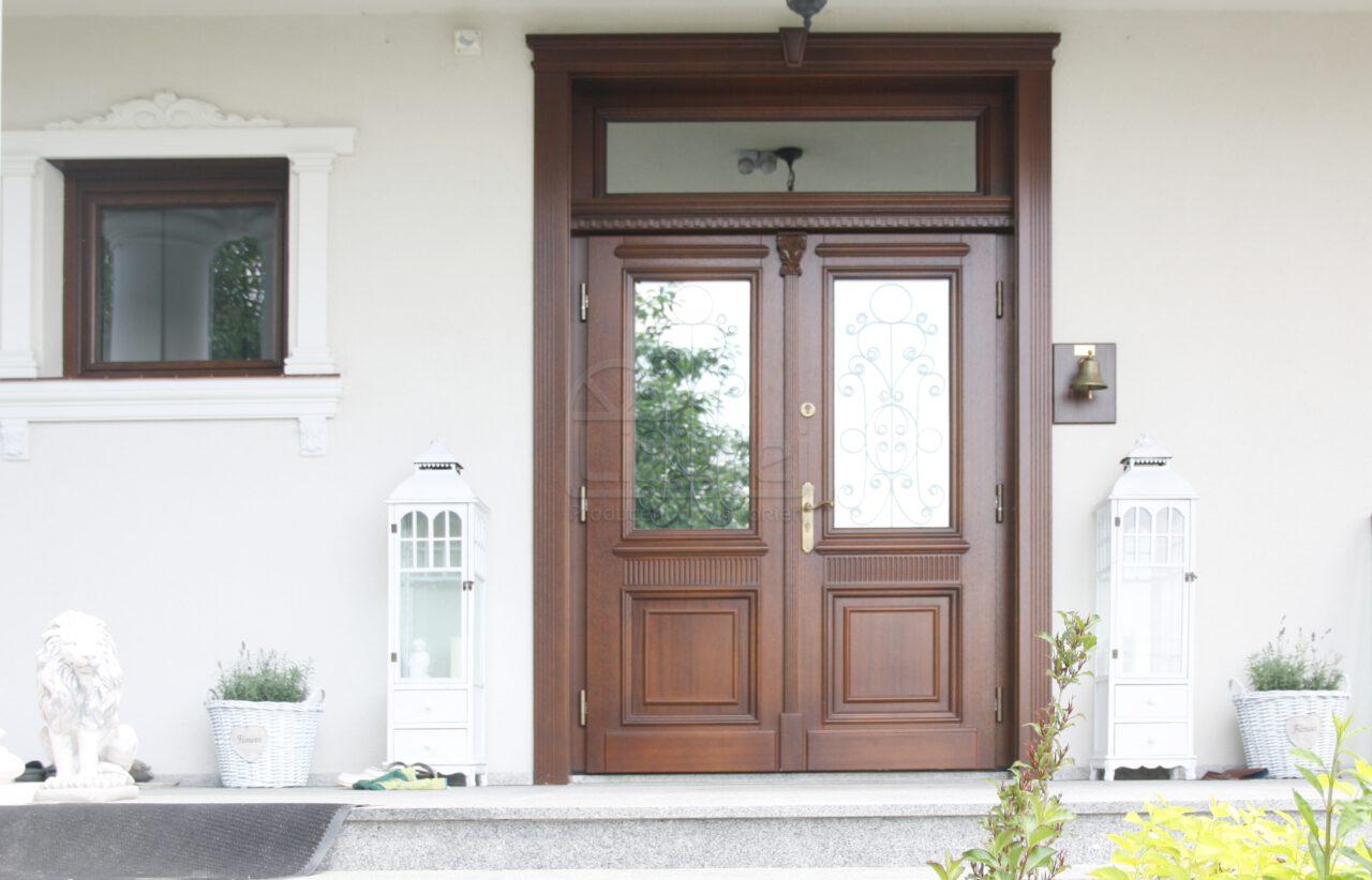 Drzwi Zewnętrzne Dwuskrzydłowe Drewniane Przszklone Dworek LZ270
