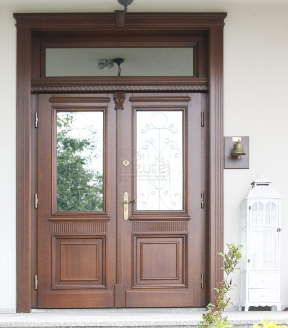 Drzwi zewnętrzne drewniane dwuskrzydłowe Dworek LZ270
