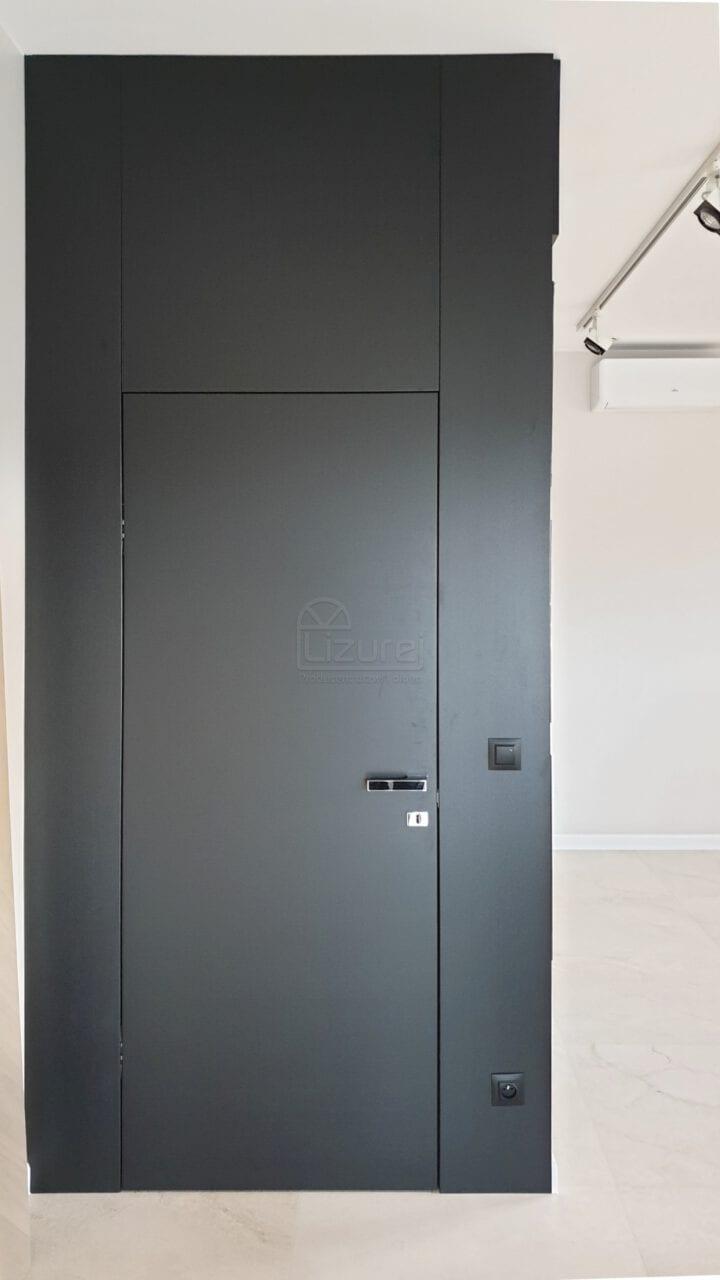 Drzwi wewnętrzne czarne z zabudową ściany nowoczesne  LW539