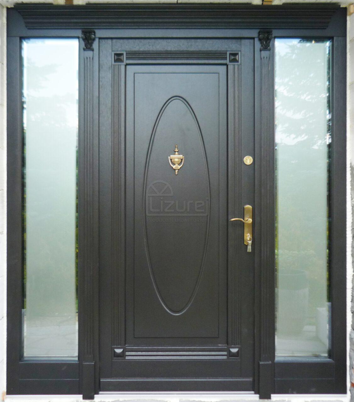 Drzwi zewnętrzne drewniane czarne z naświetlami boki przeszklone LZ470