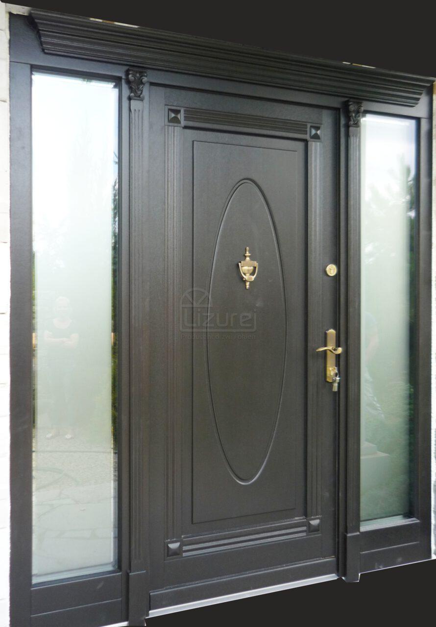 Drzwi Zewnętrznedrewniane Czarne LZ470 2