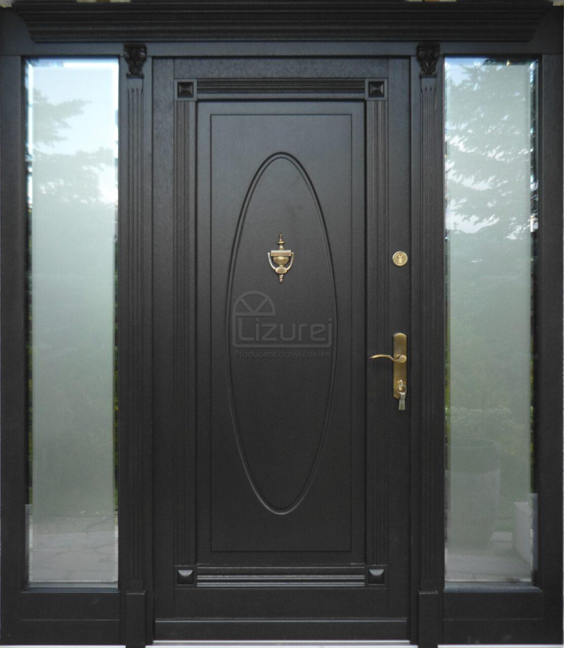 Drzwi Zewnętrznedrewniane Czarne LZ470