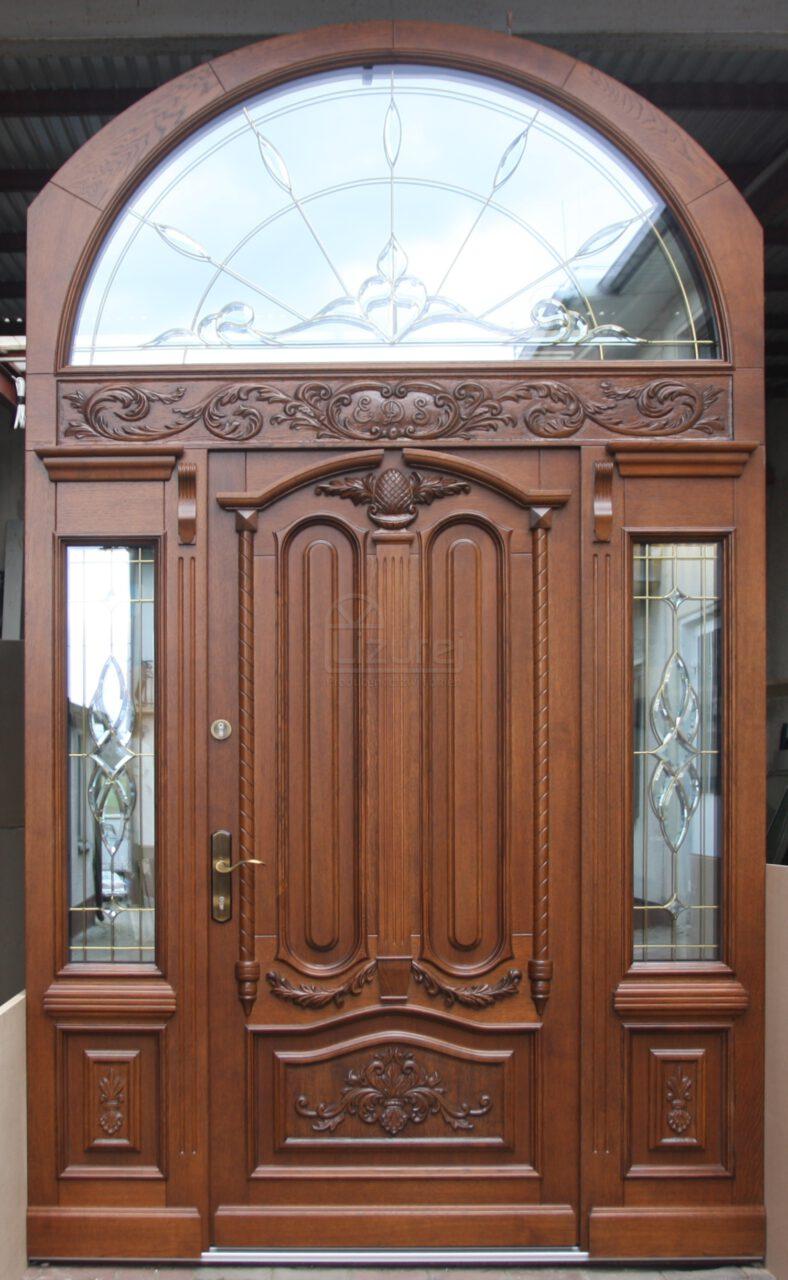 Drzwi Zewnetrzne Drewniane Rzeźbione Stylowe LZ637