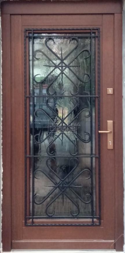 Drzwi drewniane zewnętrze z metaloplastyką kamienica LZ651