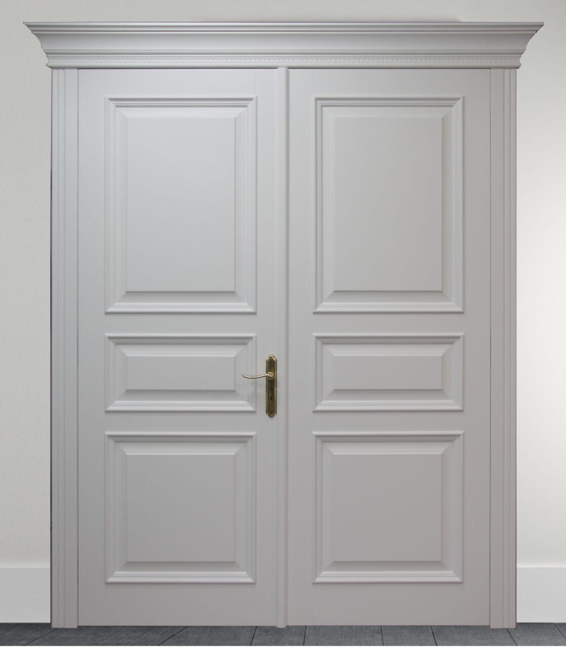 Drzwi drewniane dwuskrzydłowe pełne London LW544