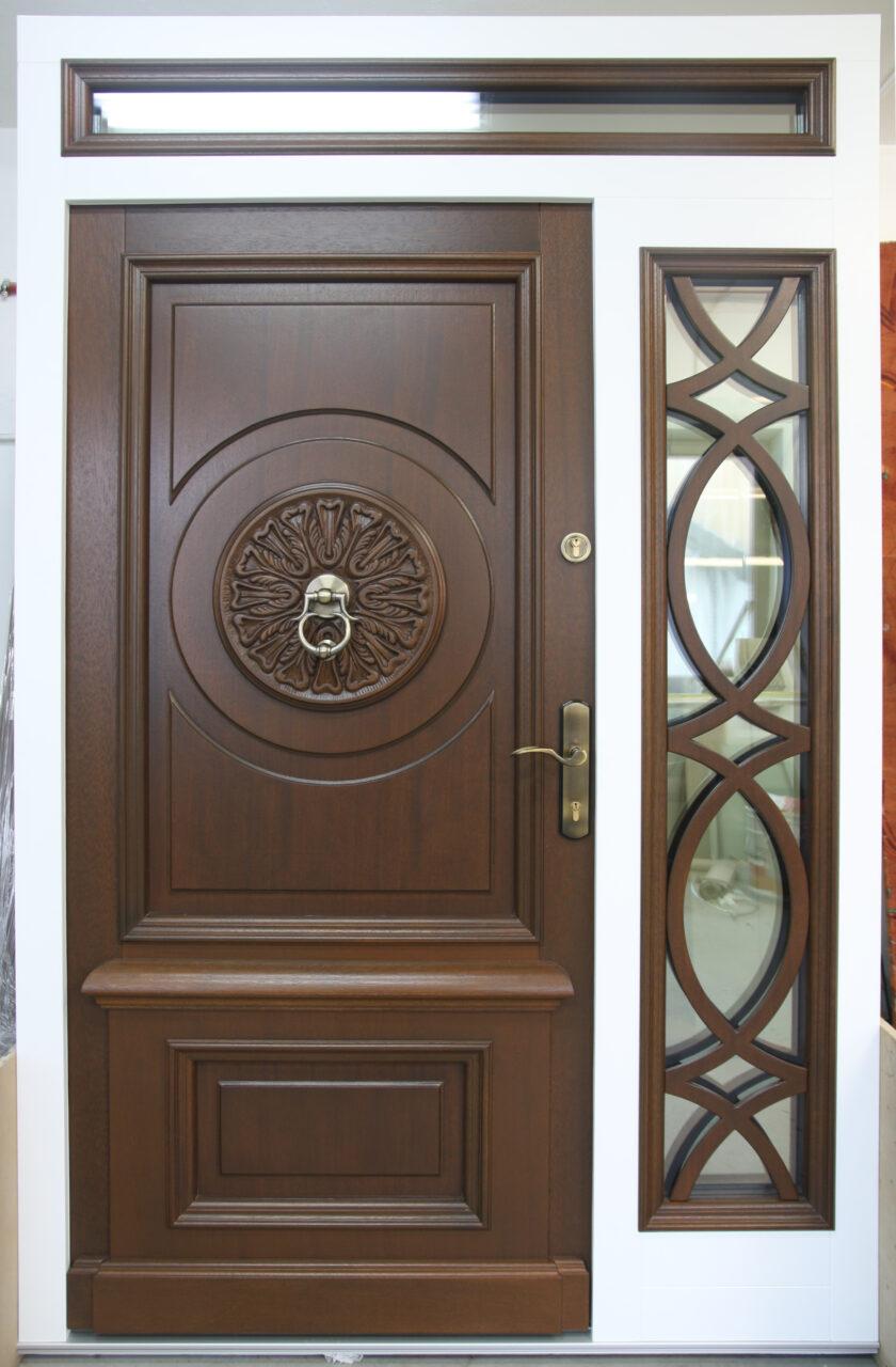 Drzwi zewnętrzne drewniane z dostawka dwa kolory LZ480